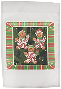3dRose fl_14915_1 Peppermint Gingerbread Ornaments Garden Flag, 12 by 18-Inch