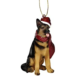 Design Toscano German Shepherd Holiday Dog Ornament Sculpture, Full Color
