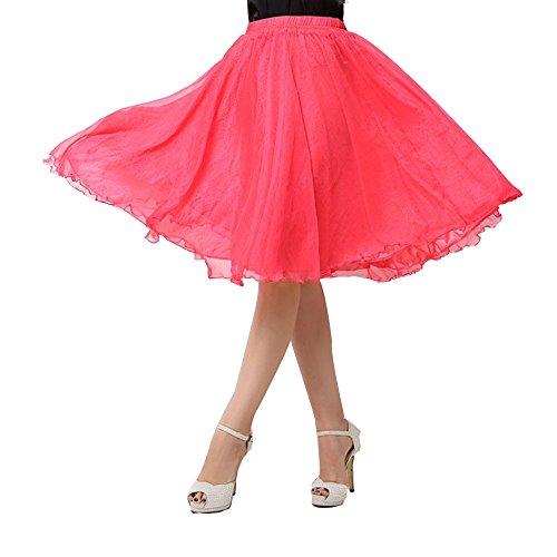 OCHENTA Femme Jupe Basic A Genou Casual En Mousseline de Soie Skirts Sunset Rouge