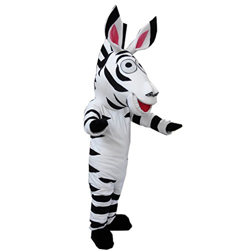 Plush Zebra Mascot Costumes (Zebra Mascot Costume Adult Size Fancy Dress Halloween)