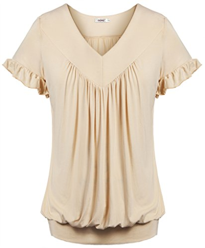 Bepei Women Top V Neck Short Sleeves Front Pleated Tunic Shirts Blouses Beige M