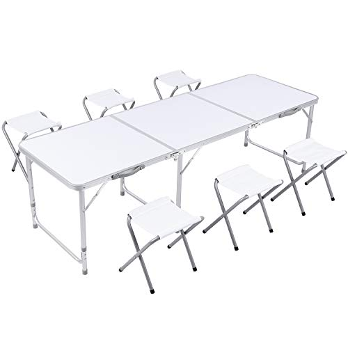 GARTIO 6FT Aluminum Folding Table, Tri-Fold, Height Adjustable Portable Lightweight Camping Beach Dining Utility Desk, with Handles and 6 Chairs, for Indoor Outdoor Garden Picnic Party,White