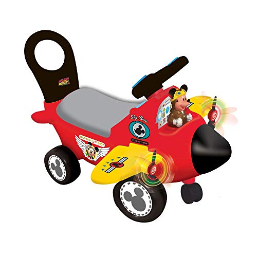 Kiddieland Mickey Mouse Airplane Activity Ride-On Car, Red ()