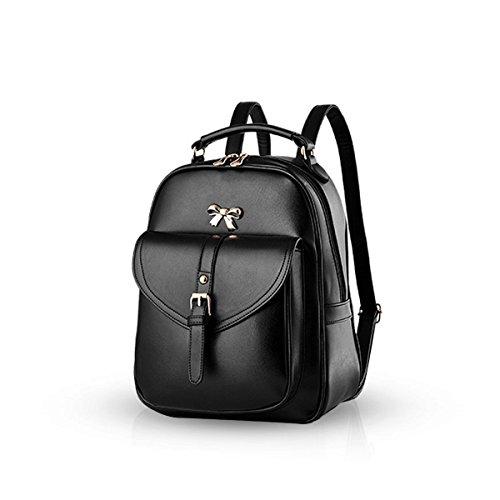 Cmtpyy Moda Mujer Bowknot School Bolsa de viaje mochila Daypack hombro duradero impermeable PU Negro Tejer Negro