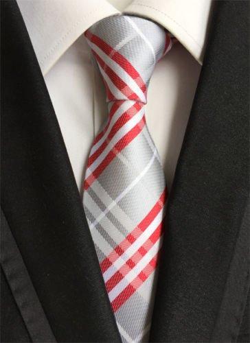 new-classic-checks-grey-white-red-jacquard-woven-100-silk-mens-tie-necktie