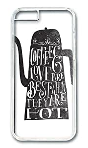Apple Iphone 6 Case,WENJORS Adorable COFFEE LOVE Hard Case Protective Shell Cell Phone Cover For Apple Iphone 6 (4.7 Inch) - PC Transparent