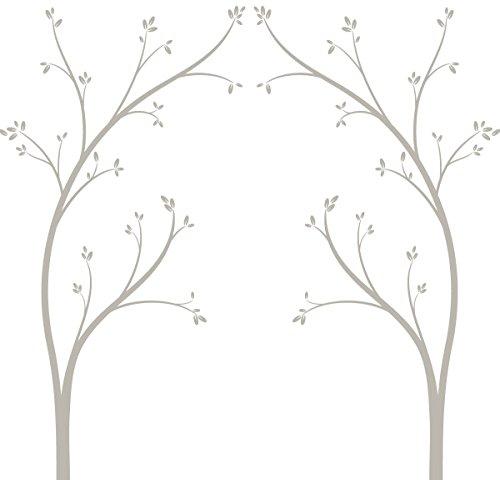 LittleLion Studio Tree Canopy Bed Headboard Wall Decal, Warm Gray