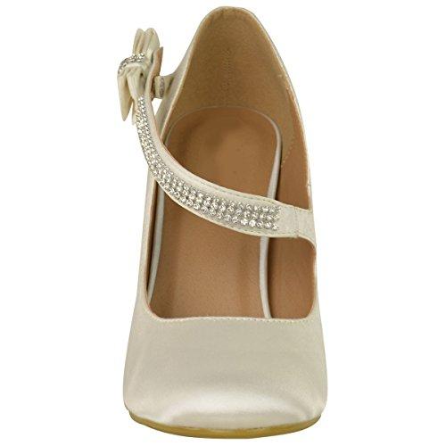 Mode Soif Femmes Mariée Mariage Bal Parti Haut Talon Pompes Classiques Chaussures Taille Ivoire Satin
