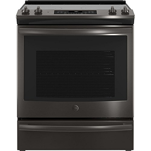 GE JS760BLTS 30 Inch Slide-in Electric Range with Smoothtop Cooktop in Black Stainless (Slide In Black Range)