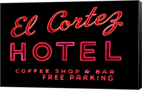 Historic El Cortez Hotel neon Sign, Freemont Street, Las Vegas Canvas Art Wall Picture, Museum Wrapped with Black Sides, 43 x 28 inches