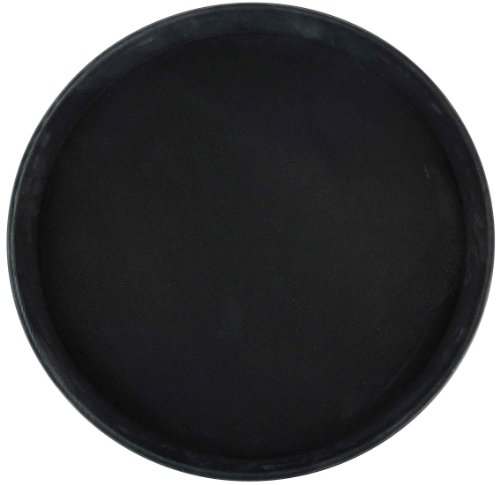 Winco Round Fiberglass Tray with Non-Slip Surface, 14-Inch, Black]()