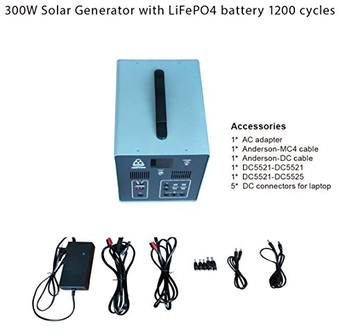MEGASOLAR 300W Solar Generator Solar System with 288Wh LiFePO4 battery, Solar & AC Input, 300w 110v AC Inverter 4 USB 2 QC3.0 312v 15v 20v DC output, TFT Display, charged by Solar Charger Solar Panel by SZMJSOLAR (Image #2)