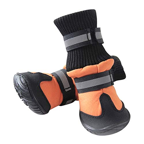 orange, S   Waterproof Dog shoes Pet Dog Anti-Slip Durable Small Large Dog Rain Snow Boots
