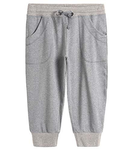 77457bb10a4 Weintee Women's Capri Joggers Jersey Sweatpants (Large, Light Gray)