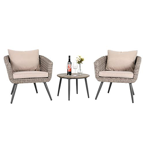 PHI VILLA 3 Piece Outdoor Patio Brushed Rattan and Gradual Changing Color Wicker Sofa Barrel Chairs and Round Coffee Table Furniture Set