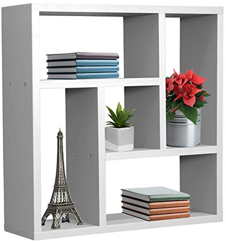 Sorbus Floating Shelf Geometric Square - Square Wall Shelf with 5 Openings, Decorative Hanging Display for Photo Frames, Collectibles, and Home Décor (Geometric 5-Square - White)