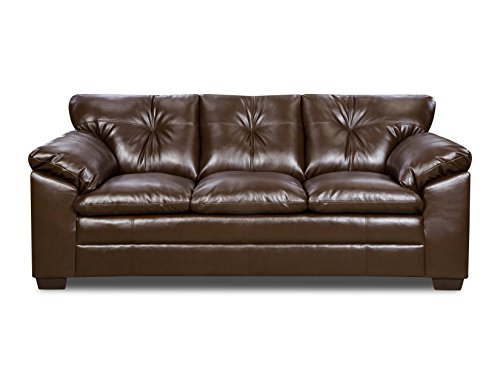 Simmons Upholstery 6569-03 Sebring Coffeebean Bonded Leather Sofa by Simmons Upholstery