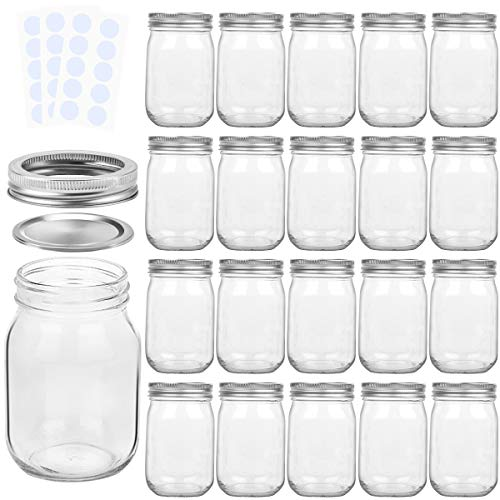 KAMOTA Mason Jars 12OZ With Regular Lids and Bands, Ideal for Jam, Honey, Wedding Favors, Shower Favors, Baby Foods, DIY Magnetic Spice Jars, 20 PACK, 30 Whiteboard Labels Included ()