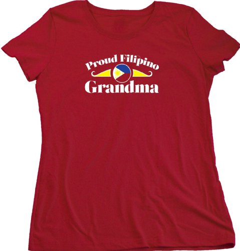 Proud Filipino Grandma | Phillipines Pride Ladies Cut T-shirt Phillipines Grandparent Shirt