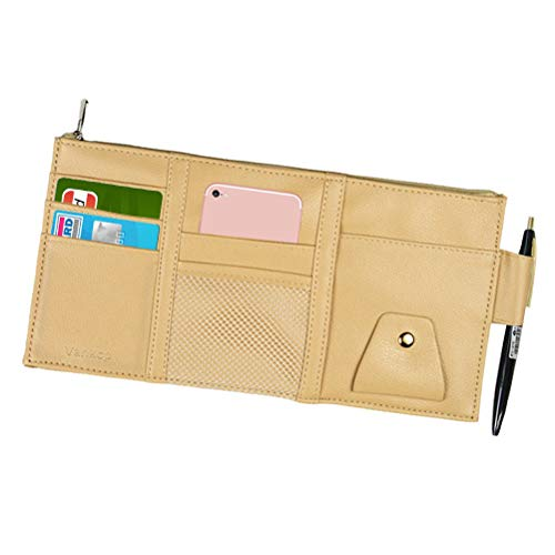 Vankcp Car Sun Visor Organizer, Auto Interior Accessories Sunglass Pen CD Card Small Document Storage Pouch Holder, PU Leather, Multi-Pocket with Zipper Net (Beige)