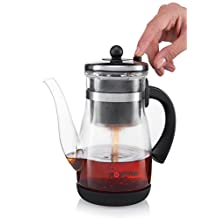 Gourmia GTP9815 Tea & Coffee Pot Glass Loose Leaf Tea Maker With Stainless Steel Filter Tumbler Infuser 850ml Capacity