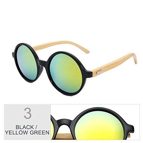 De De En Mujeres Gafas De Mujer Bambú Regreso Negro Yellow Hombres Para Black Azul De De TIANLIANG04 Green Sol Sol Steampunk Redondo Gafas Vintage Madera HZvwn7q