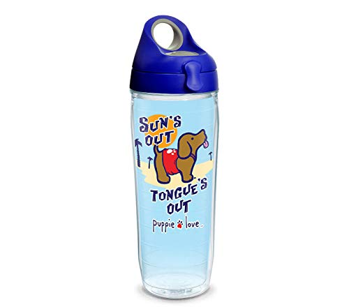 Tervis 1311341 Puppie Love – Sun's Out Tongue's Out Insulated Tumbler with Wrap and Blue with Gray Lid, 24oz Water Bottle, Clear
