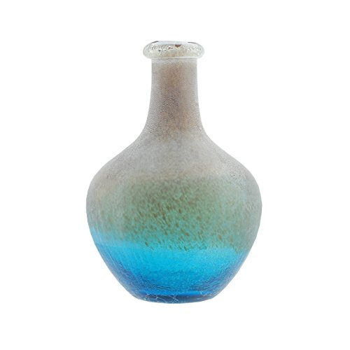 "Northlight 12.25"" Azure Blue Crackled and Brown Frosted Hand Blown Glass Vase"