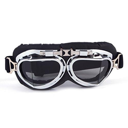 (OMG_Shop Retro Goggles Motorcycles Cycling,Racer Bikes Helmet Steampunk Goggles Black)