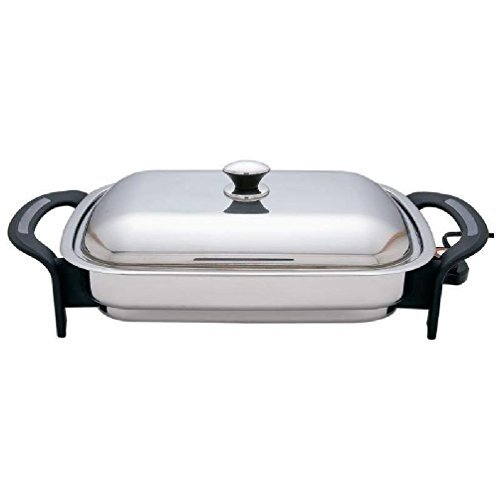 Precise Heat 16'' Rectangular T304 Stainless Steel Electric Skillet/Fry Pan