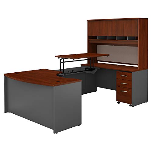 (Bush Business Furniture Series C 60W x 43D Right Hand 3 Position Sit to Stand U Shaped Desk with Hutch and Mobile File Cabinet in Hansen Cherry/Graphite Gray)