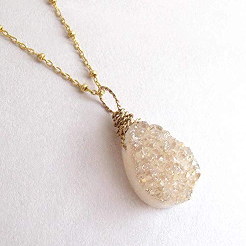 Peach Champagne Druzy Quartz Gemstone Pendant Necklace Dainty Chain 14k Gold Filled 18 inches