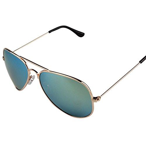 Protection Retro Hommes Miroir UV Jaune Sunglasses Soleil de Femmes Polarisées Aviateur Lunettes Cadre Eyewear LINNUO Or Lentille qApwv7nf