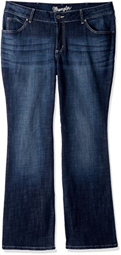 Wrangler Women's Plus Size Western Mid Rise Boot Cut Jean, -dark blue, 22WX32