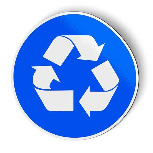 AK Wall Art Recycle Sign Blue Circle - Magnet - Car Fridge Locker - Select Size
