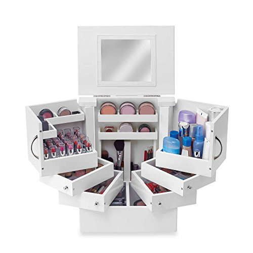 Cosmetic Makeup Organizer Countertop Case with Drawers Mirror Tower Deluxe by Lori Greiner by Lori Greiner
