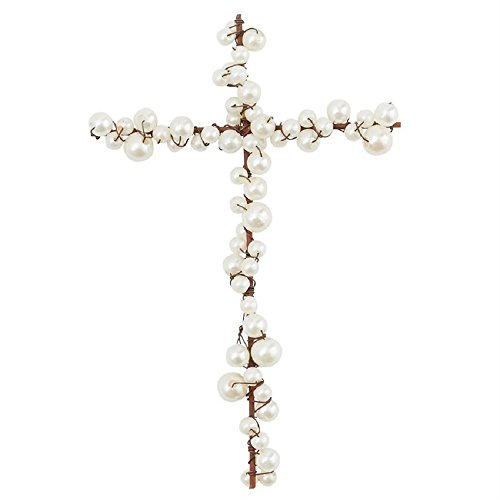 Pearl Cross Ornament (Wire & Faux Pearl Cross, 6 1/2