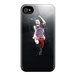 Case Cover The Player Of Barcelona Andres Iniesta In The Jump/ Fashionable Case For Iphone 4/4s