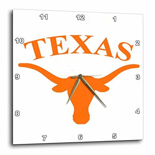 3dRose LLC Texas Longhorn Wall Clock, 10 by (Texas Longhorns Rose)