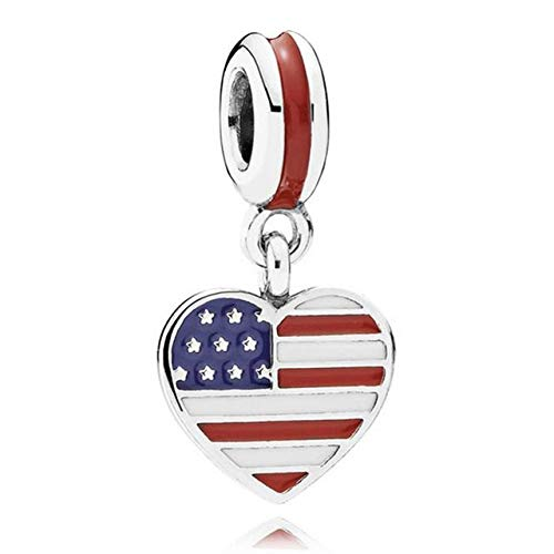 (Pukido Authentic 925 Sterling Silver Bead Charm Enamel Love Heart Flag Pendant Beads Fit Pandora Bracelet Bangle DIY Jewelry - (Color: USA Flag))