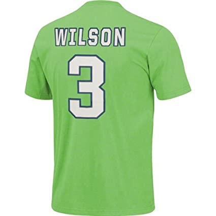 Majestic Russell Wilson Seattle Seahawks Green Jersey Name and Number  T-shirt Small f33fb329f5a2