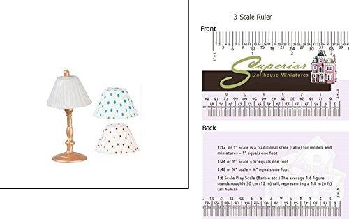 (Dollhouse Miniature Medium Gold Lamp With 3 Shades)