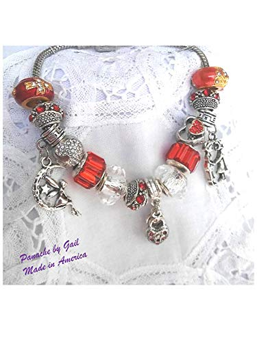 d65aabcec Image Unavailable. Image not available for. Color: Pandora Style Charm  Bracelet, Silver, Red ...