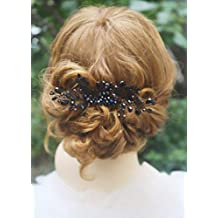 Missgrace Black Crystal Hair Comb Special Occasion Headpiece Black Women Hair...