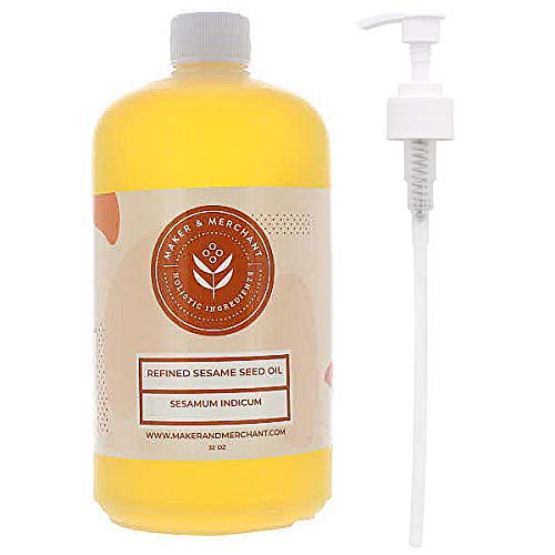 Maker and Merchant 100% Pure Refined Sesame Oil for Skin and Hair with Pump (32 oz)