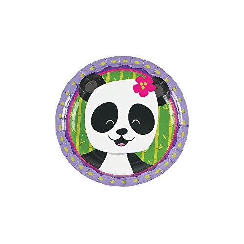 Fun Express - Panda Party Dessert Plates (8pc) for Birthday - Party Supplies - Print Tableware - Print Plates & Bowls - Birthday - 8 Pieces