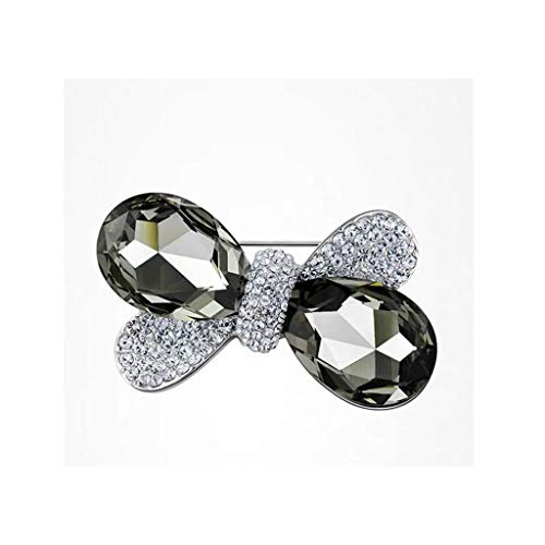 - QXX Crystal Zircon Brooch, Silver and Black, Suitable for Weddings, Parties, Girls Gifts
