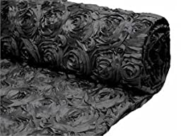 Black Satin Rosette Backdrop Fabric 2 yards by Posey Pillow