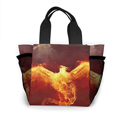 Fjb11 Lunch Handbag with Water Bottle Holder for Women, Phoenix Fire Printed Multipurpose Snack, Picnic Tote Bag]()