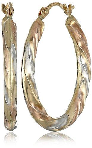 14k-Gold-Tri-Color-Oval-Hoop-Earrings